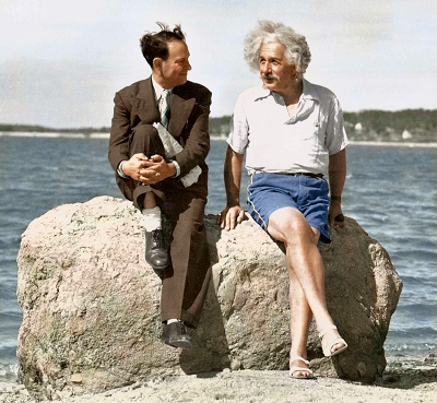 Photo of Einstein and Ron (shoe salesman)